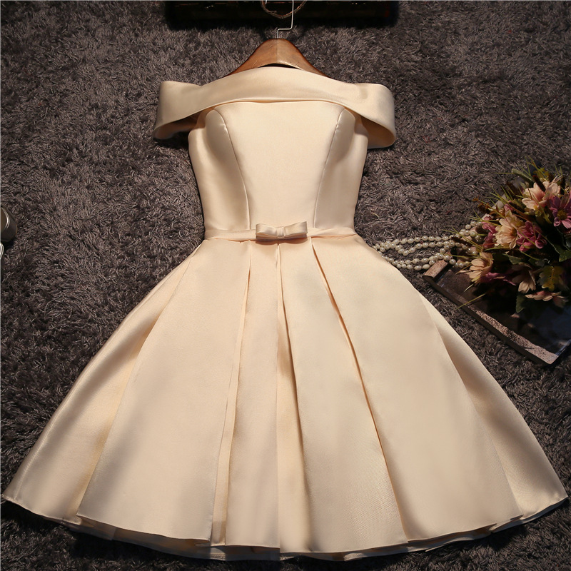 Champagne Gold Strapless Elegant Sexy Knee Length Simple Bridesmaid Dresses Satin Red And Pink Bridesmaid Ball Gowns Custom