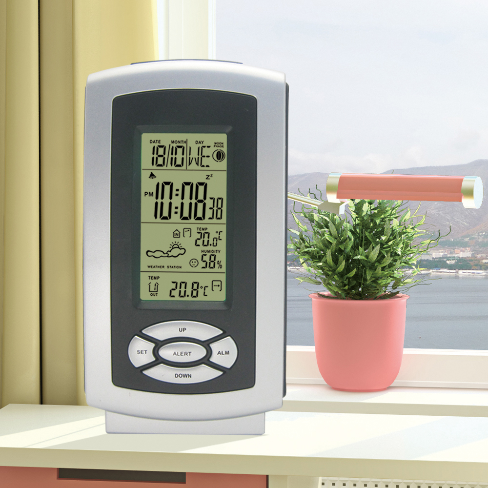 Wireless Weather Station Digital LCD Backlight Alarm Clock Indoor Outdoor Temperature Humidity Outdoor Hygrometer Transmitter