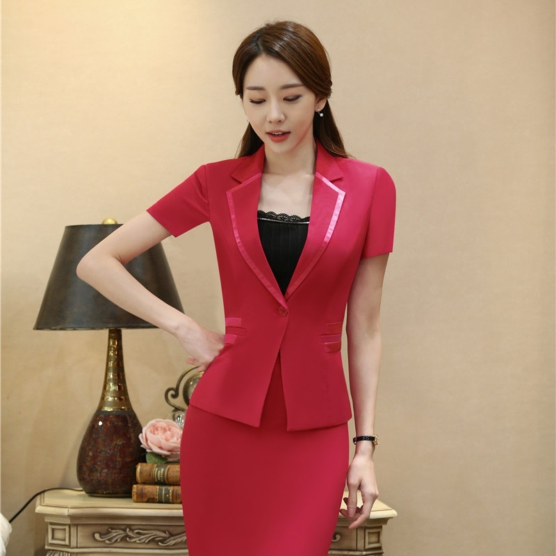 Summer Ladies Red Blazer Women Outerwear Jackets Short Sleeve Professional Business Clothes Work Wear Uniforms OL Style