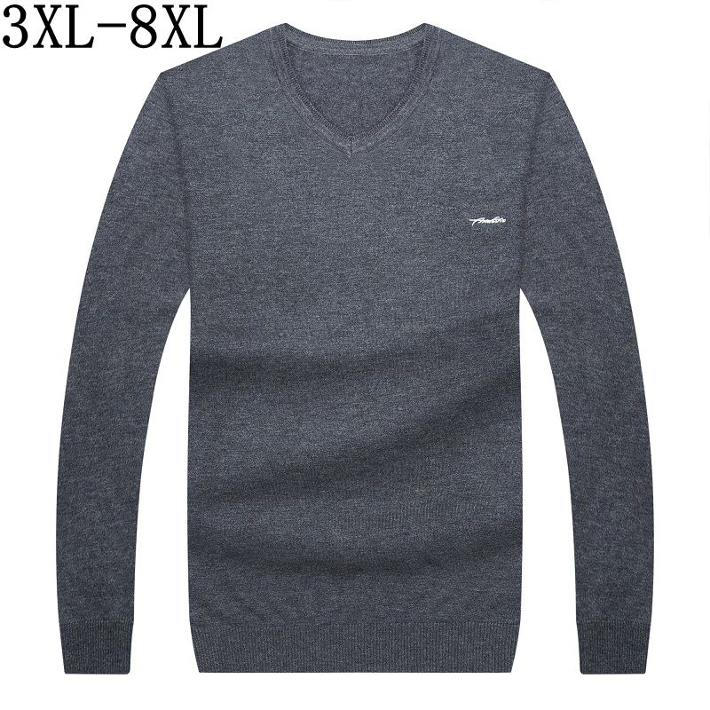 2018 New Autumn Cashmere Sweater Men Mens V-Neck Knitted Sweaters Long Sleeve Loose Fashion Pullover Men Plus Size 6XL 7XL 8XL
