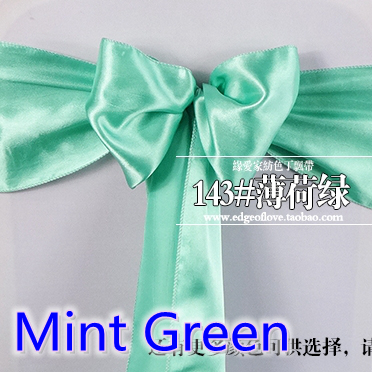 Mint Green Colour High Quality Satin Sash Chair Bow For Chair Covers Sash Spandex Party And Wedding Decoration Wholesale