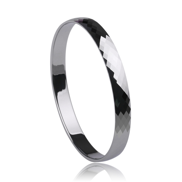 Big Sale High Quality 8mm Width Prism Design Classic Facet Hi Tech Tungsten Brancelet Bangle Silver Tone For Man Jewelry