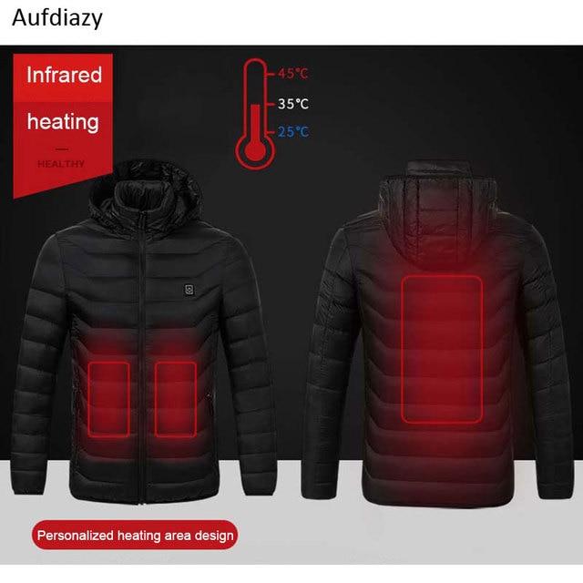 Aufdiazy USB Heating Jacket Men Women Smart Thermostat Hooded Heated Clothing Men's Waterproof Skiing Hiking Fleece Jacket IM023 1