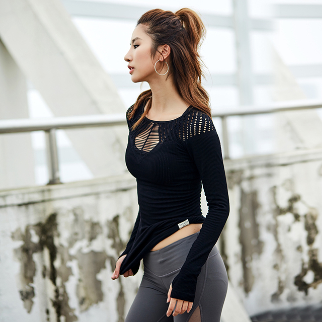 Mesh Hollow Out Yoga Top Full Sleeve Sport T Shirt