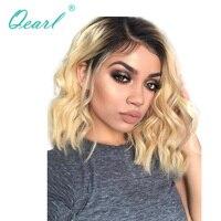 Qearl натуральный вьющиеся светлые Синтетические волосы на кружеве парики китайский волос Девы Ombre 1B/613 короткий Боб Стиль Синтетические воло