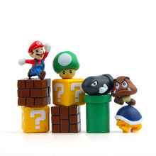 10 Pcs 3D Cute Super Mario Resin Fridge Magnets for Kids Home Decoration Ornaments Figurines Wall Postbox Toys for Kids(China)