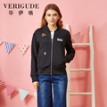 Veri Gude 2017 New Arrival Women's Spring Jacket Regular Slim Fit  Coat Elastic Rib Cuffs and Hem Personality Street wear
