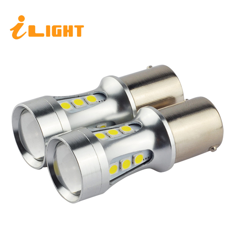 iLight 2x P21W Led BA15S LED Bulbs 1156 Lamp 18 COB 3030 SMD Chips Car Lights DRL 12V 6000K White Turn Signal Reverse Lights hid white 15 smd pw24w pwy24w led bulbs for audi bmw vw turn signal or drl light