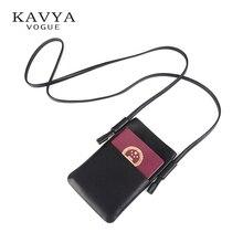 KAVYAVOGUE Vintage Genuine Leather Men Neck Phone Bag Case Womens Shoulder for Mobile Travel Document Crossbody