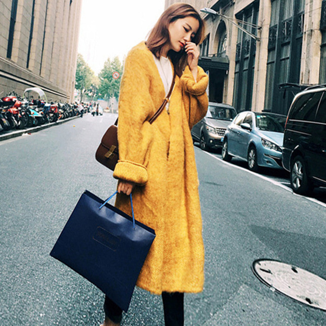Qiukichonson Korean Fashion Vintage Long Cardigan Women 2018 Winter Knitted Sweater Lantern Sleeve Plus SIze Knitted Cardigan