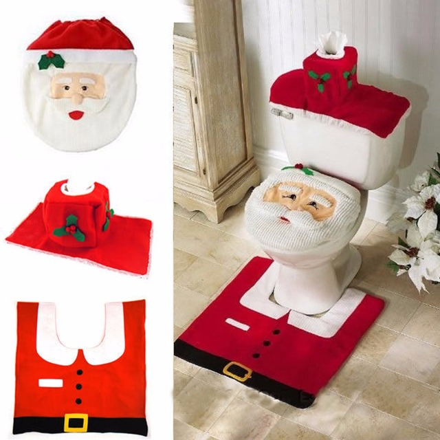 Buy christmas decorations happy santa toilet seat cover and rug bathroom set - Decoration toilette ...