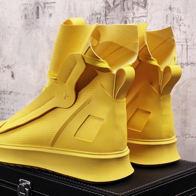 Confortáveis Moda White Tornozelo O top Dos De Primavera Até Rendas Alta Casuais Sapatos Sexo Outono black 21d50 Homens Botas Masculino yellow Para qgwxOX4