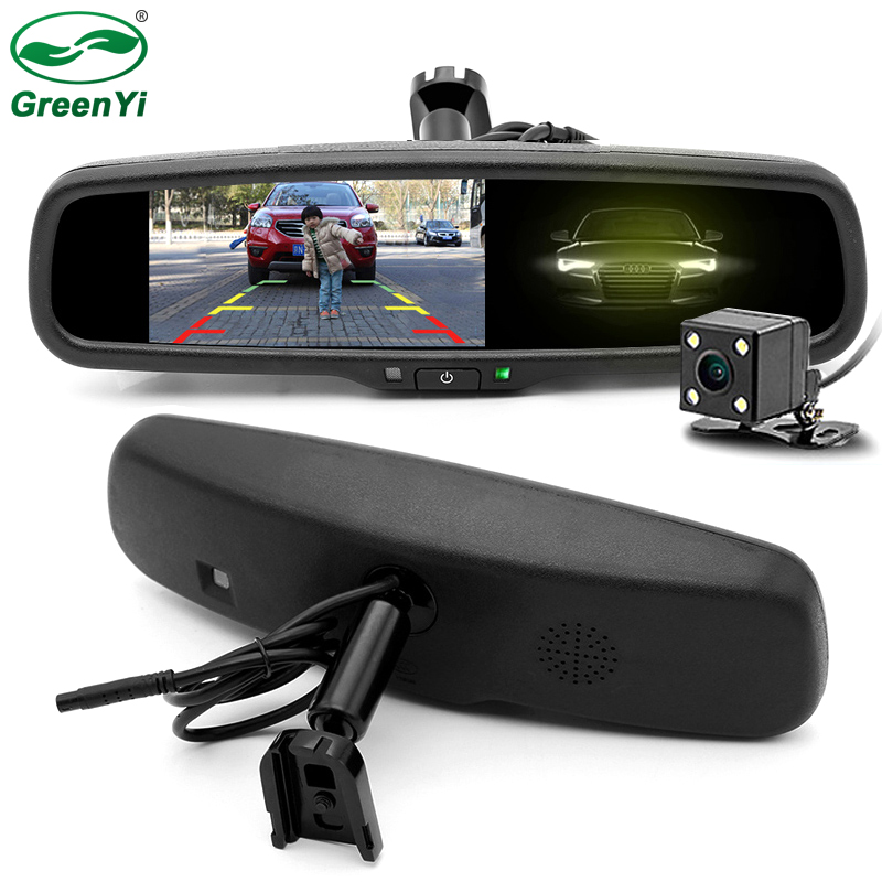 GreenYi HD TFT LCD Auto Dimming Anti Glare Car Interior Mirrors Mirror Monitor With Original Bracket