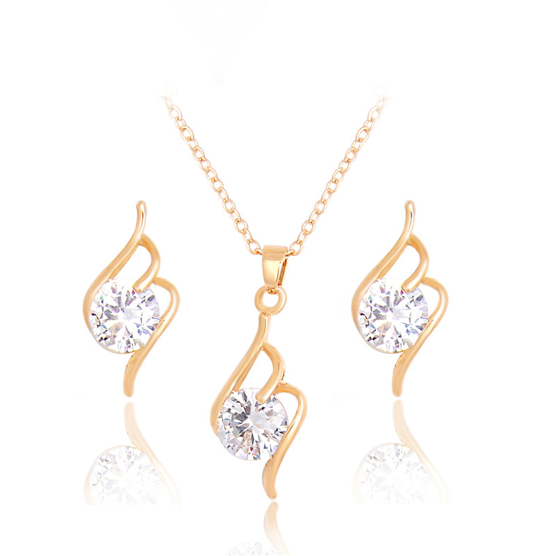 MISANANRYNE High Quality 2 Colors Jewelry Sets For Women CZ Zircon Necklace Earrings Crystal Jewelry Sets Party Accessories