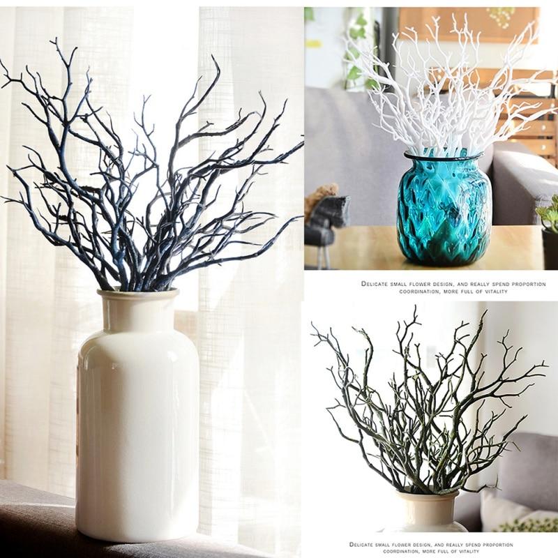 Manzanita Dry Artificial Fake Foliage Plant Tree Branch Wedding Home Church Office Furniture Green White 3pcs 35cm