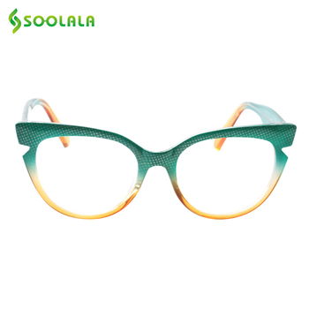 SOOLALA Cat Eye Leesbril Vrouwen Mannen Mode Hit Kleur Brillen Frame Presbyopie Leesbril Cateye + 0.5 tot 4.0