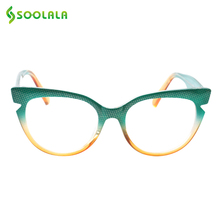 SOOLALA Cat Eye Reading Glasses Women Men Fashion Hit Color Eyeglasses Frame Presbyopia Cateye +0.5 to 4.0