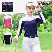 PGM Lady Tops Golf Trainning Clothes Autumn/Winter Plus Velvet Thickening Long Sleeve T Shirt Woman Stitching Bottoming apparel