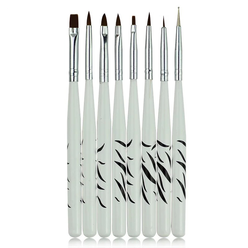 8 pcs Ferramentas Unhas Nail Art Decorações Nail Polonês Brushes Kit Escova Pintura Desenho Pen Profissional Manicure Pedicure Cleaner