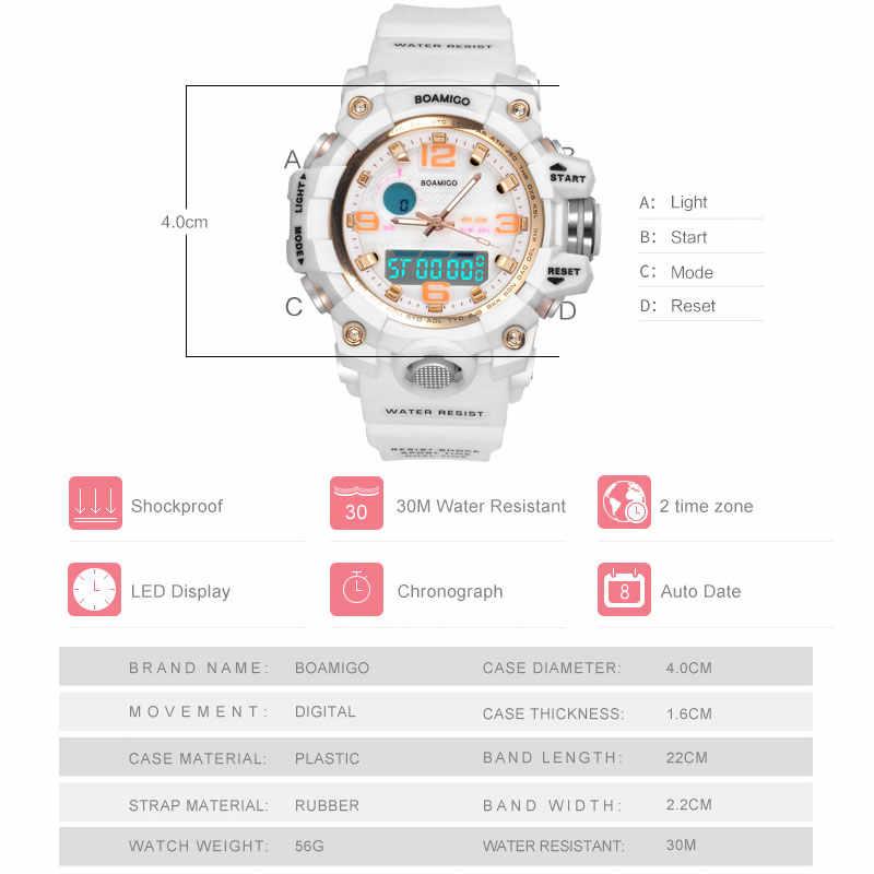 BOAMIGO מותג שעונים נשים ספורט שעונים אופנה גבירותיי קוורץ יד שעונים לבן לשחות דיגיטלי הלם שעון Relogio Feminino