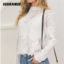 IUURANUS women ladies blouse long sleeve white Lace hollow turtleneck Top Summer Blouses Cap Elegant Blouse for female