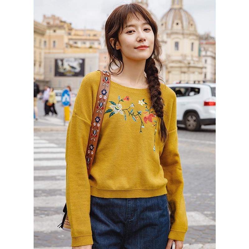 Инман осень 2018 г. круглый вырез горловины для женщин с длинным рукавом Цветочный Вышивка пуловер свитер
