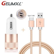 GEUMXL Type C USB 3.1 Charging Data Cable & Dual USB Car Charger Power Adapter for Chuwi HiBook, HIbook Pro / Doogee T3, F7 Pro(China)