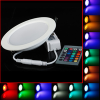 50pcs Lot 10W RGB LED Ceiling Panel Light AC85 265V 24Color Downlight Bulb Lamp With Remote