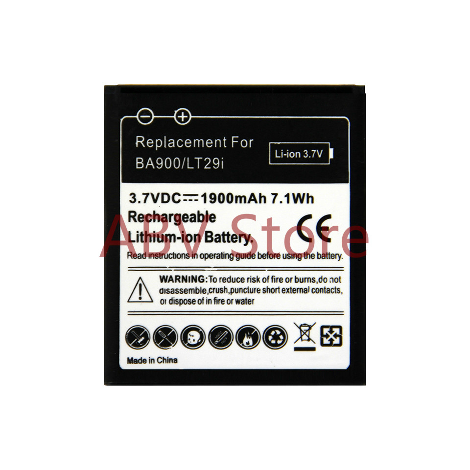 High quality BA900 battery  for Sony Ericsson Xperia TX LT29i/J ST26i/L S36h C2105 E1 J L M C2104 C1 Battery