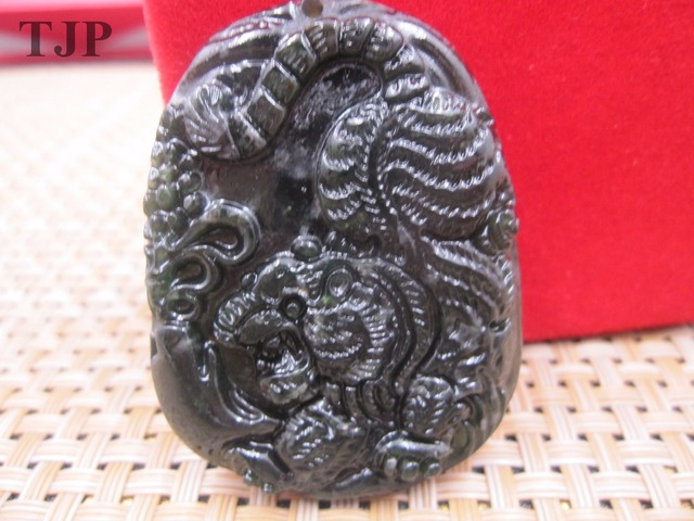 Tjp natural carved black jade pendant china serpentine tiger jade tjp natural carved black jade pendant china serpentine tiger jade pendant with certificate together mozeypictures Images