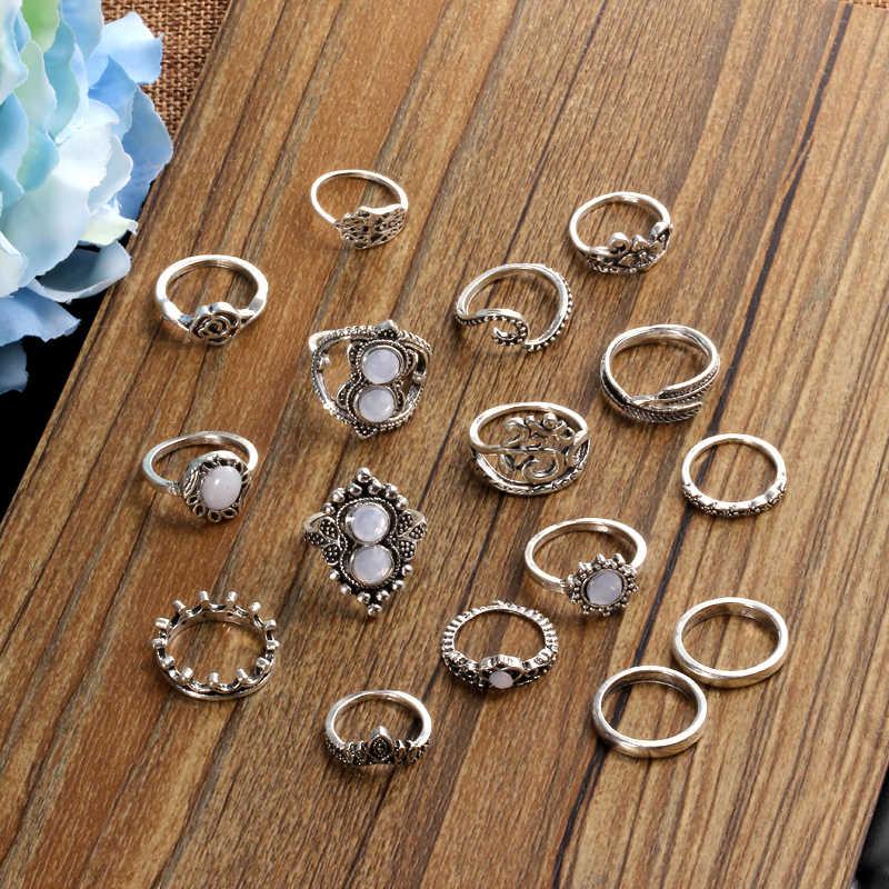 Hesiod Vintage Boho conjuntos de anillos MIDI Opal strass hoja conjuntos de anillos para nudillos joyería Retro plata oro Color 16 unids/set anillo de dedo