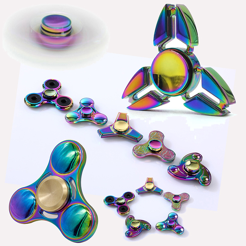 Colorful Hand Spinner Fidget Toys Aluminum Alloy Metal Tri spinner edc fidget spinner metal bearing finger