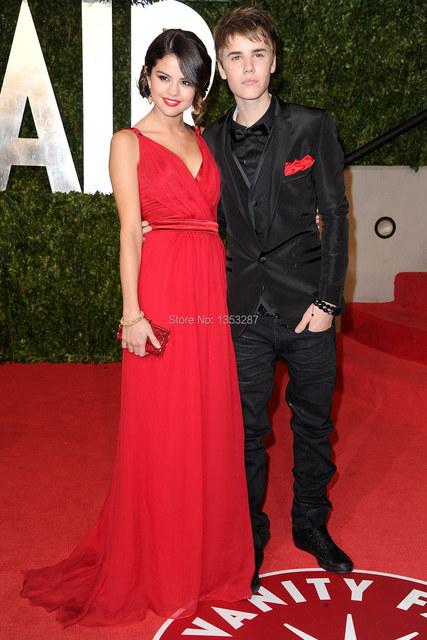 Nueva moda de imitación Celebrity vestidos Sexy V cuello vestido de ocasión especial Red Oscar vestido de 2015 envío rápido