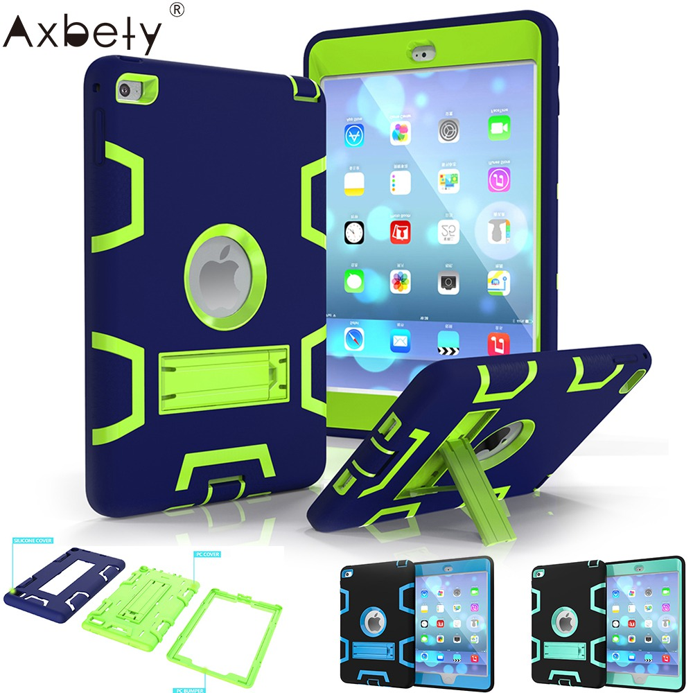 AXBETY Full Protection Stand Cover coque For iPad mini 4 Case 7.93 in 1 Heavy Duty Silicone Hard Cover sFor ipad mini 4 fundas
