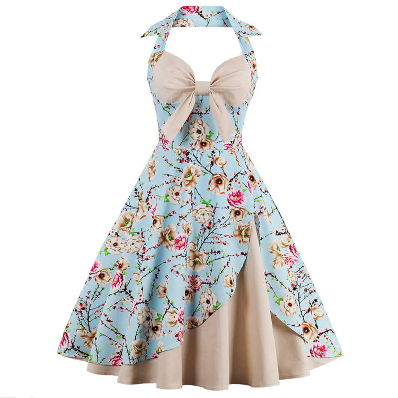 Ladies Floral Print Halter Backless Dress Plus Size Gown Summer Vintage 50s 60s Womens Evening Party Big Swing Dress Sundress