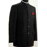 Chinese Tunic Men Suits Vintage Black Groom Tuxedos for Wedding Wear Single Breasted Two Piece Dinner Party Male Jacket Pants