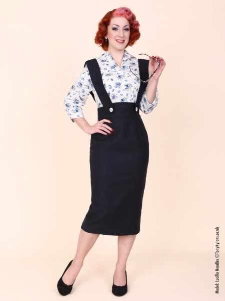 25- vintage 50s Audrey Hepburn button up wiggle midi wide strap brace  pencil skirt in d201f437d89f