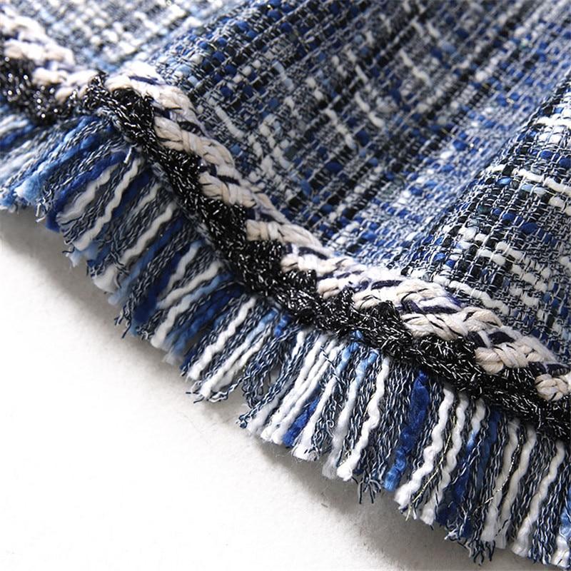 Mode Tweed Manteau Pour Shorts Blazer De Luxe Bleu Costumes Main Femmes Tissage qTY8v