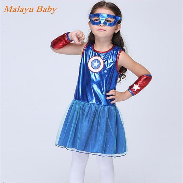 Malayu Marca Nova Roupa Do Bebê Do Bebê do Dia Das Bruxas Cosplay Superhero Traje Sem Mangas + Roupas + Óculos de Proteção