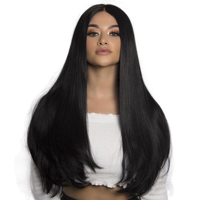 Droite 250 Densité 13x6 Avant de Lacet Perruques de Cheveux Humains Noir Femmes Pré Pincées Moyen Partie Sans Colle Dentelle Perruques bébé Cheveux Eseewigs