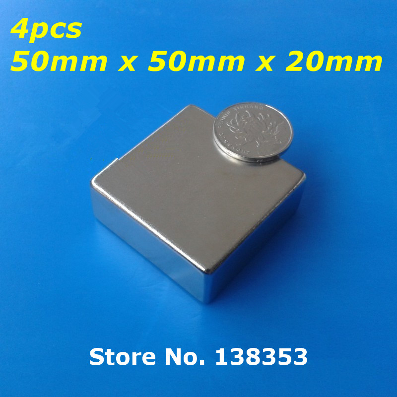 Wholesale 4pcs Super Strong Neodymium Square Block Magnets 50mm x 50mm x 20mm N35 Rare Earth NdFeB Cuboid Magnet 2pcs bulk strong ndfeb countersunk block magnets 40mm x 40mm x 20mm with single hole n35 neodymium square cuboid magnet