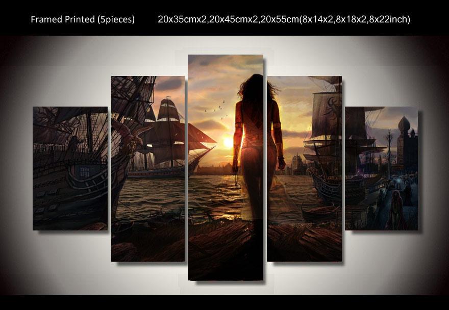 Без рамки 5 панель печатных кораблей ожидание паруса 5 шт картина стены искусства Детская комната Декор плакат холст Бесплатная доставка