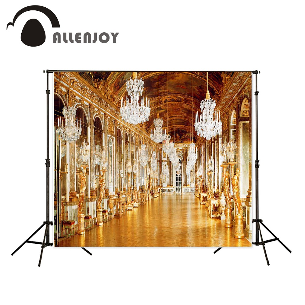 Allenjoy 5x7ft European Palace corridor Photography Backdrop Resplendent golden lights background for photo studio Custom size  недорого