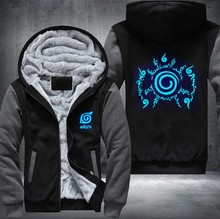 New Anime Luminous Blue NARUTO Akatsuki Clothing Thicken Jacket Cosplay Sweatshirts Hoodies USA Size