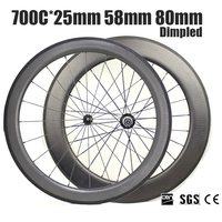 Catazer 700x25C Road Bicycle Front 58mm Rear 80mm Dimpled Clincher Wheelset Full Carbon Wheels UD Matte