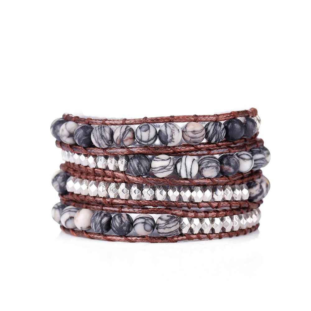 Fyla Mode Unique Natural 6mm Stone Beads Wax Cord Wrap Bracelet Personalized Multi Layered Beads Bracelet Natural Stone Bracelet in Wrap Bracelets from Jewelry Accessories