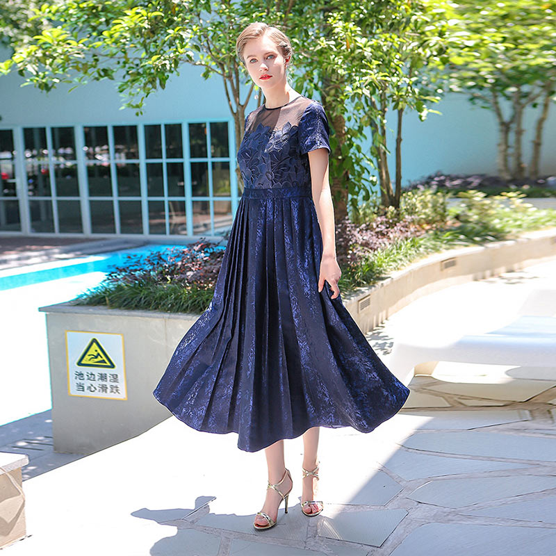 VOA 2018 Summer Navy Blue Short Sleeve High Waist Vintage Silk Embroidery Pleated Dress Plus Size Women Sexy Maxi Dress ALX02801 in Dresses from Women 39 s Clothing