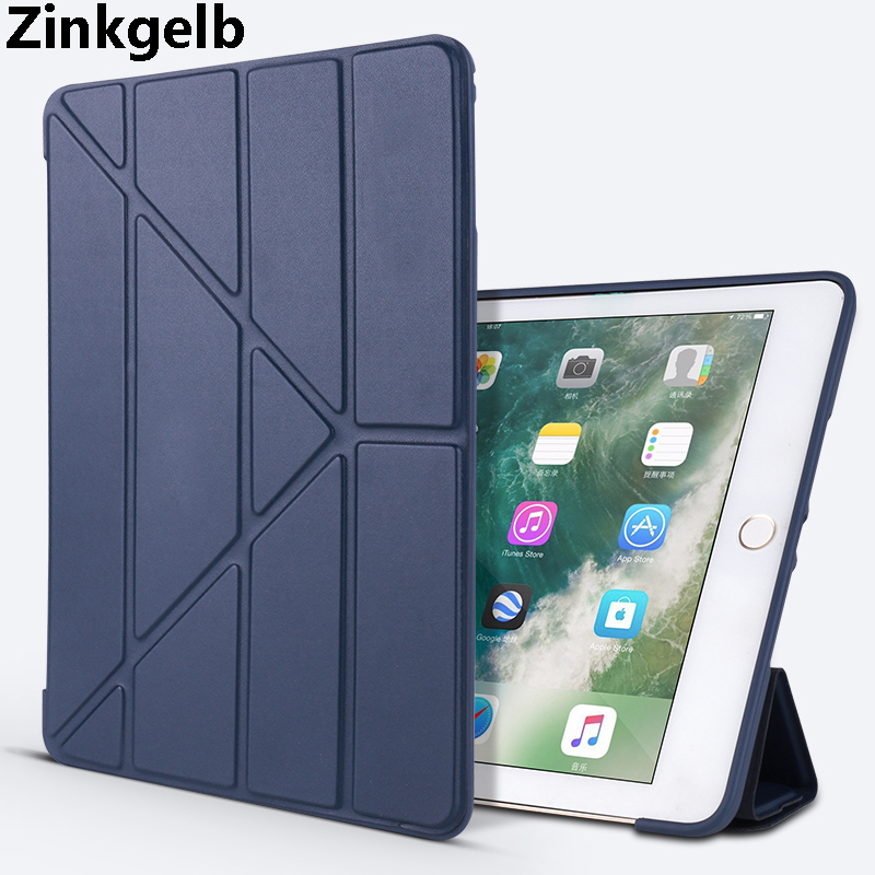 For iPad 9.7 2018 Case Cover Luxury PU Leather Soft TPU Silicone Protective Smart Case for iPad 9.7 2017 iPad Air 2 Cover Case baseus shield case tpu cover for iphone7 green