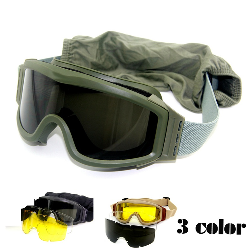 Airsoft Goggles Tactical Wargame Outdoor Sport Tactical Hiking Glasses Goggles 3 Lens bk tan green