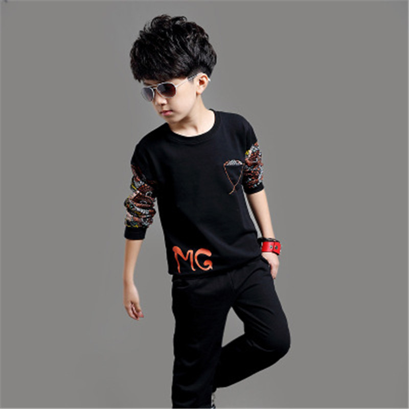 New 2016 Spring Autumn Boy Clothing Sets Fashion Solid